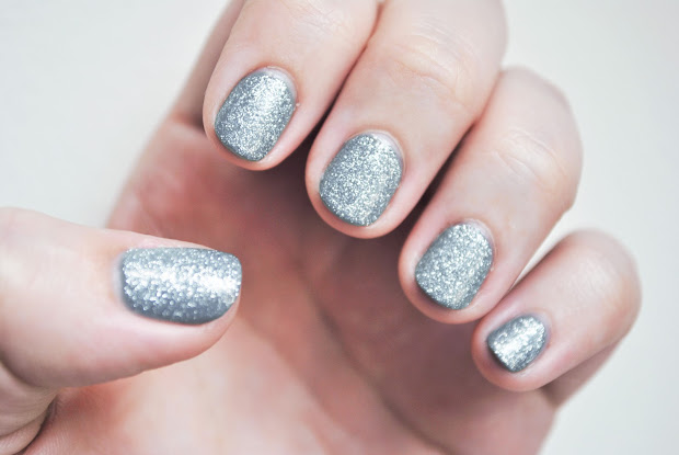 silver nail polish with glitter