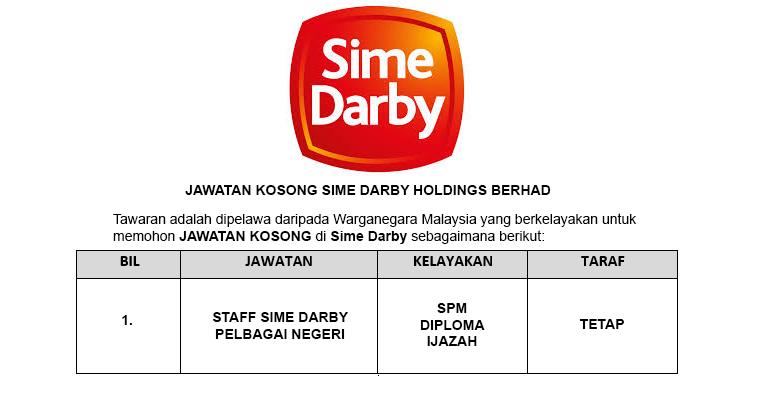 Sime Darby Holdings Berhad [ Pelbagai Jawatan Dibuka ]