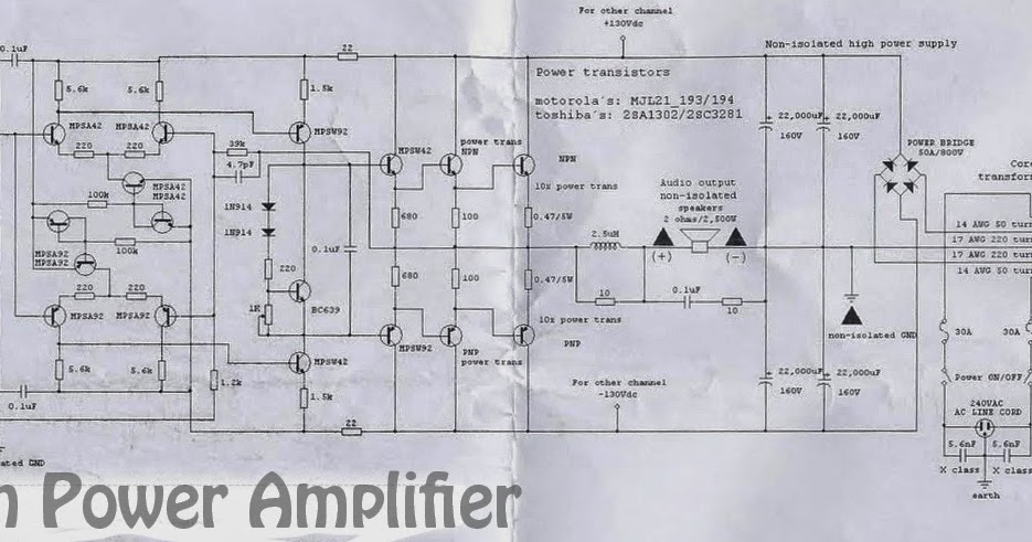 Circuit Wiring Solution: 5000W High Power Amplifier Circuit