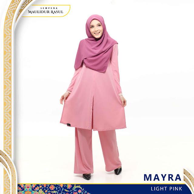 Mayra Jubah Seluar Plain Tanpa Gosok Light Pink