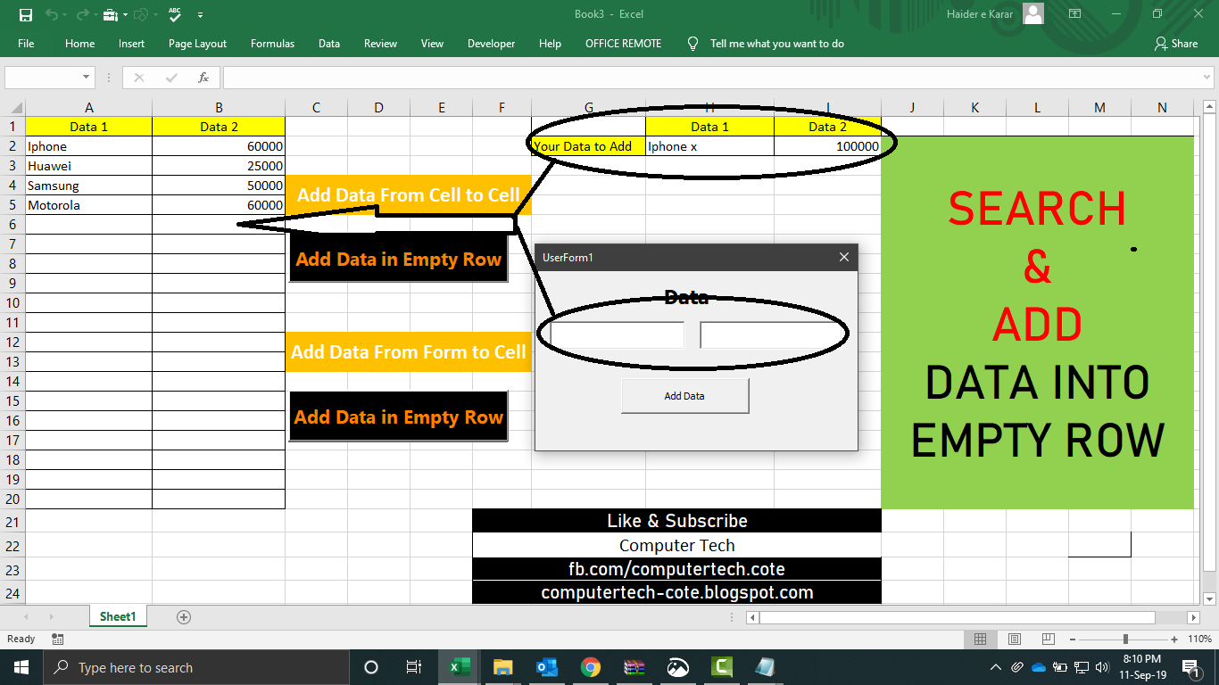 Search And Add Data In Empty Row Excel
