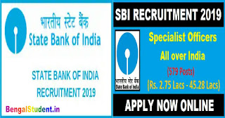 SBI Recruitment 2019 - Apply Online  For 579 Posts of Specialist Officer