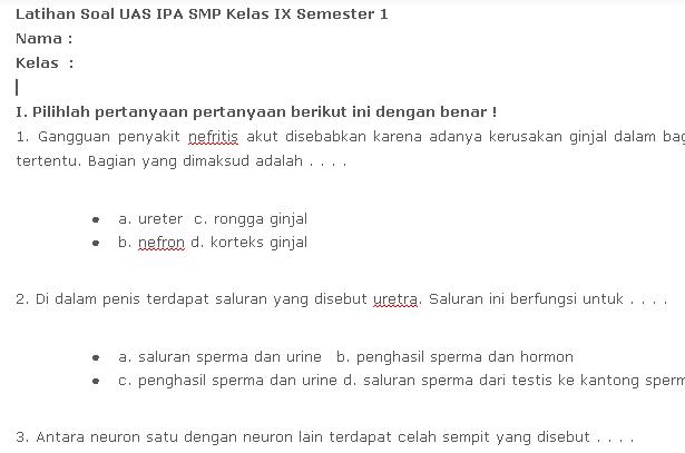 Contoh Soal UAS SMP Kelas 9 IPA Semester 1 Update Terbaru