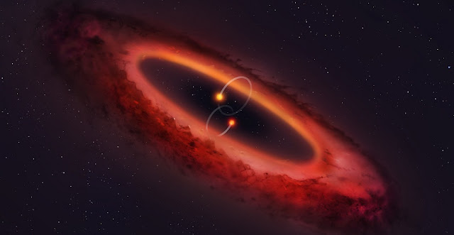 Artist's impression of a double star system and surrounding disc. Credit: University of Warwick/Mark Garlick