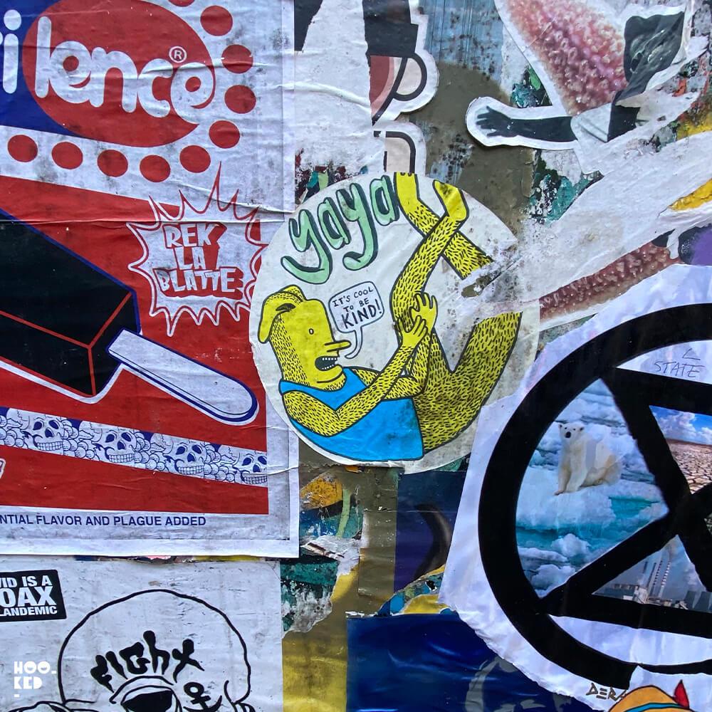 London street art stickers by artist and illustrator YAYA