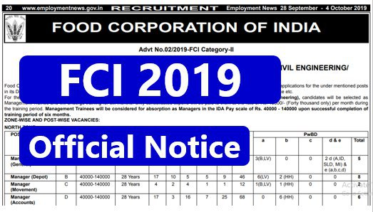 FCI MANAGER 2019