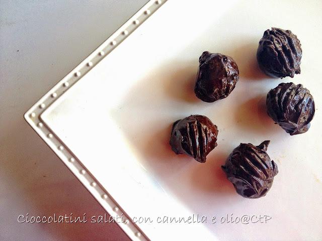 Ricetta di delicatissimi cioccolatini salati speziati alla cannela con delizioso olio extra vergine di oliva Assolutamente perfetti a chiusura pasto