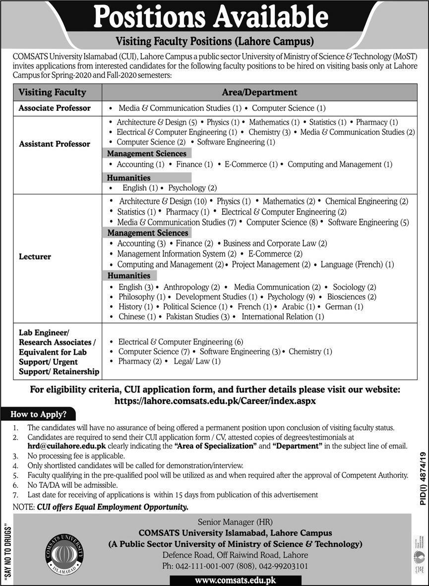 Jobs in Comsats University Islamabad CUI Latest advertisement 2020