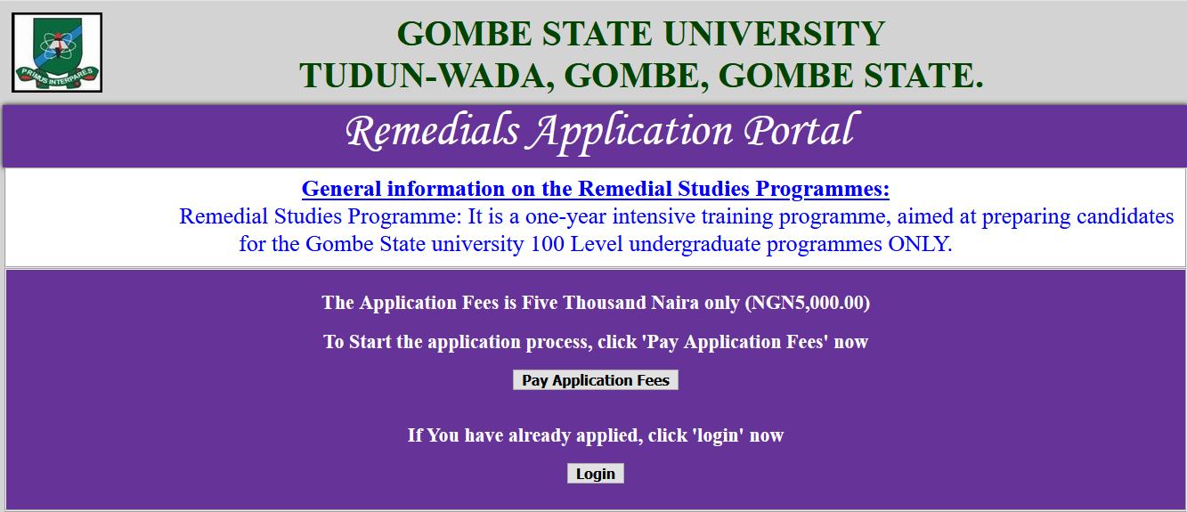 GSU Remedial Programme Admission Form 2021/2022