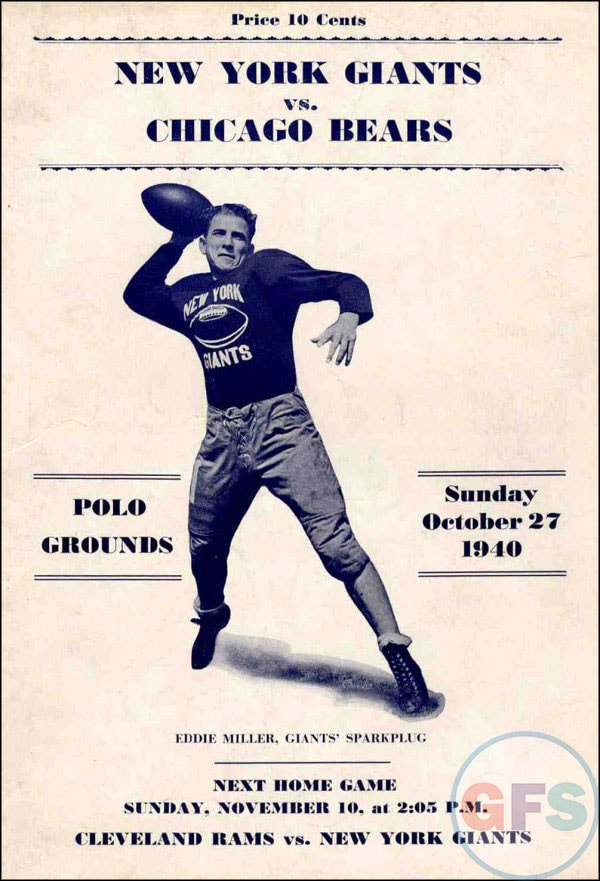 27 October 1940 worldwartwo.filminspector.com Bears vs. Gians program