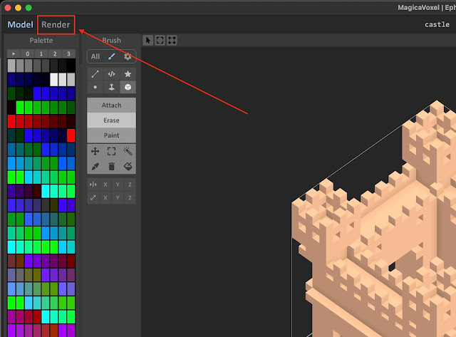Render mode button in MagicaVoxel