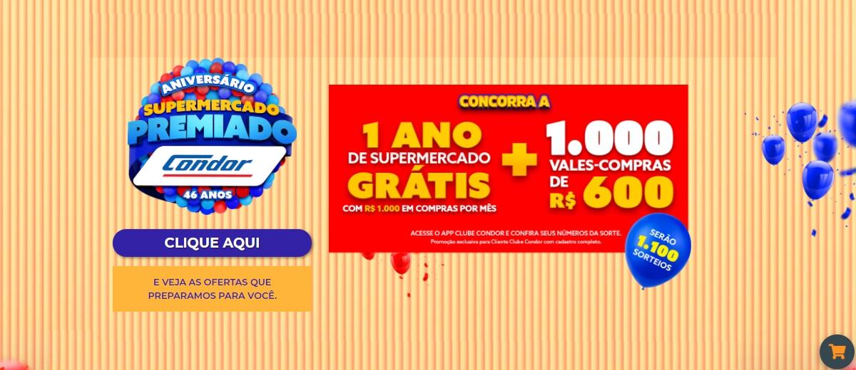 Participar Aniversário Premiado 2020 Condor 1 Ano Supermercado Grátis
