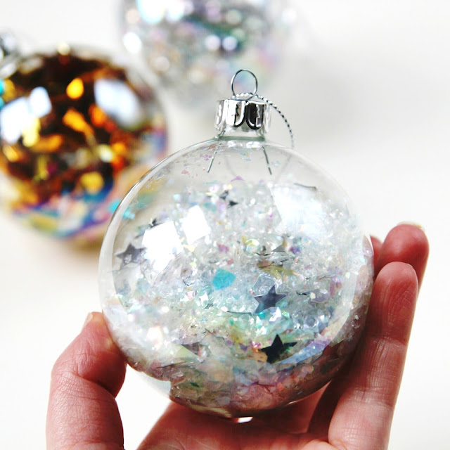 Diy Sequin Filled Christmas  Baubles