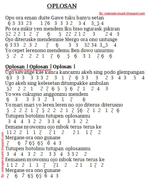 Kunci Lagu Dangdut Oplosan : kunci, dangdut, oplosan, Angka, Pianika, Oplosan