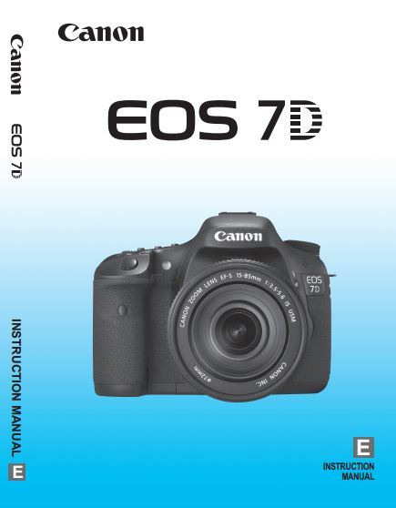 Canon EOS 7D PDF User Guide / Manual Downloads