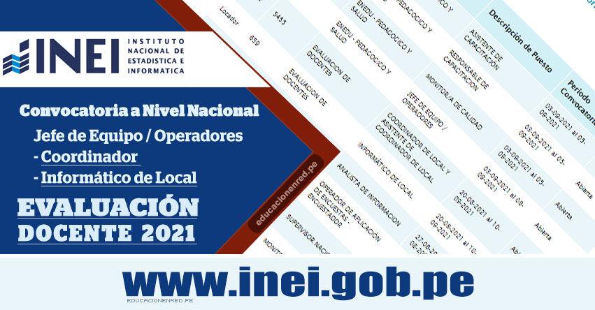 INEI - CONVOCATORIA 2021: Amplían hasta el 10 de Setiembre Contratación de más de 6 mil puestos de Coordinador, Asistente, Informático y Supervisor para Evaluación Docente - MINEDU - Nivel Nacional - www.inei.gob.pe