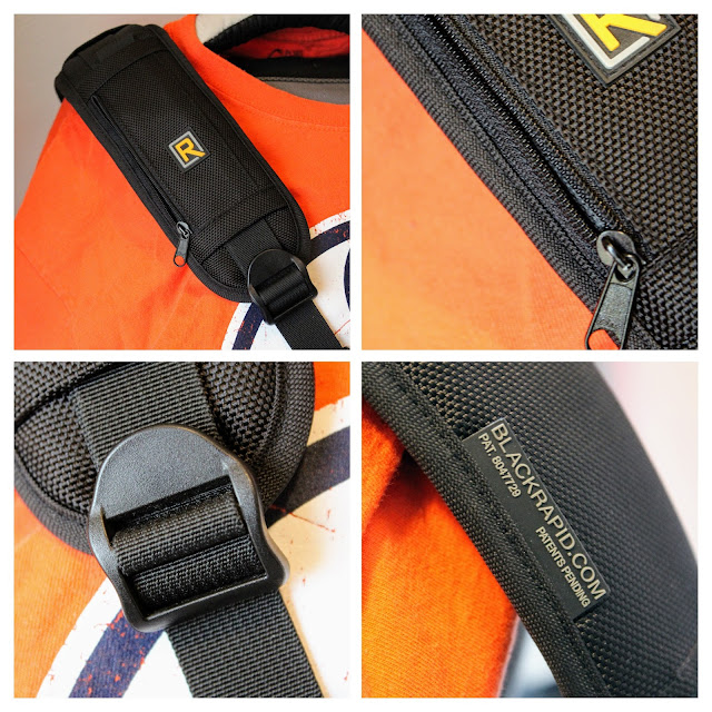 BlackRapid Camera Strap (RS-7). A four picture collage of the soft pouch, zipper, strap and adjuster.