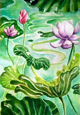 watercolor water lilies in a sketchbook