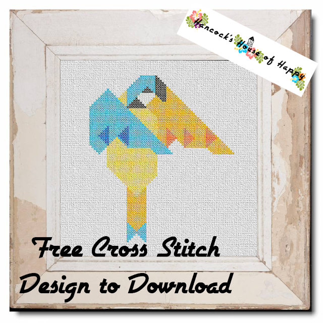 Free Beginner Cross Stitch Design to Download: Geometric Little Love Bird