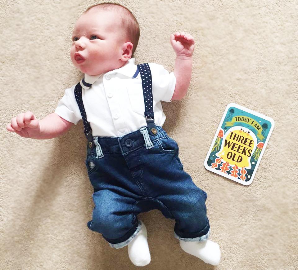 newborn update 3 weeks old dungarees baby next