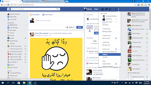 Facebook Setting General go to option - Facebbok