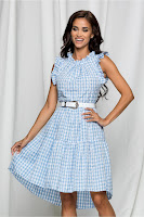 Rochie Alissa bleu cu model ajurat si curea in talie •