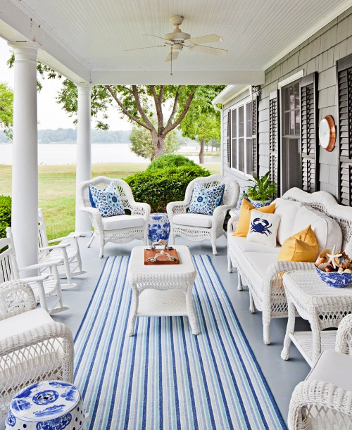 Blue and White Striped Outdoor Porch Rug