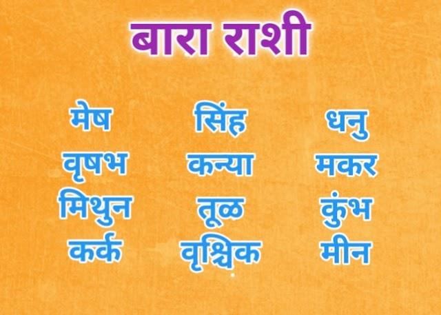 बारा राशी नावे | नावाच्या पहिल्या अक्षरावरून रास | rashi names in marathi