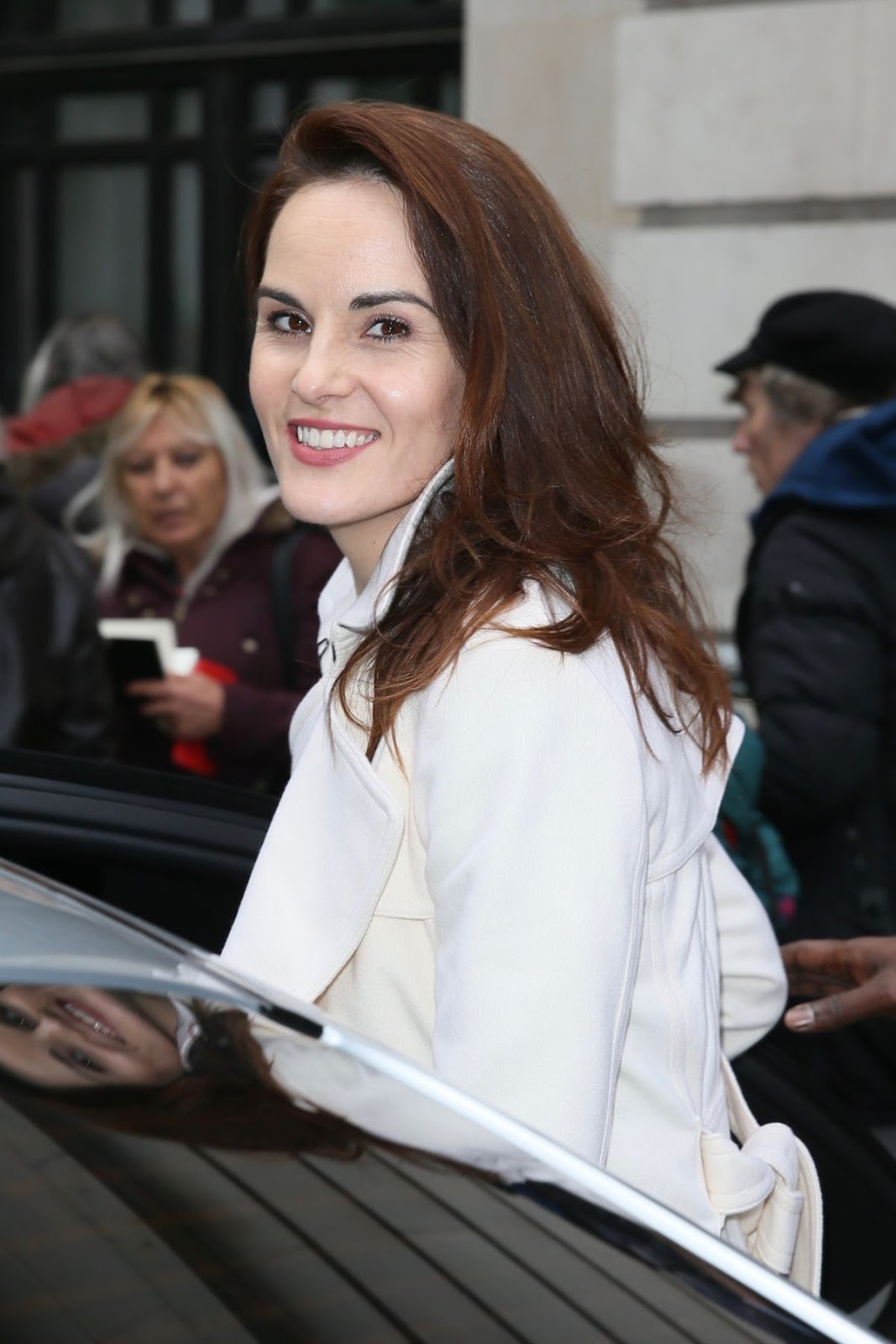 Photos of hot & sexy Michelle Dockery riding her car out side BBC Radio 2 in London