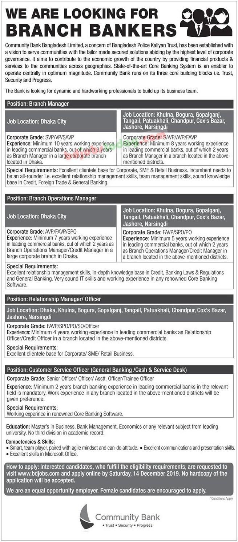 Community Bank Job Circular 2019 আকর্ষনীয় পদ নতুন নিয়োগ বিজ্ঞপ্তি প্রকাশ