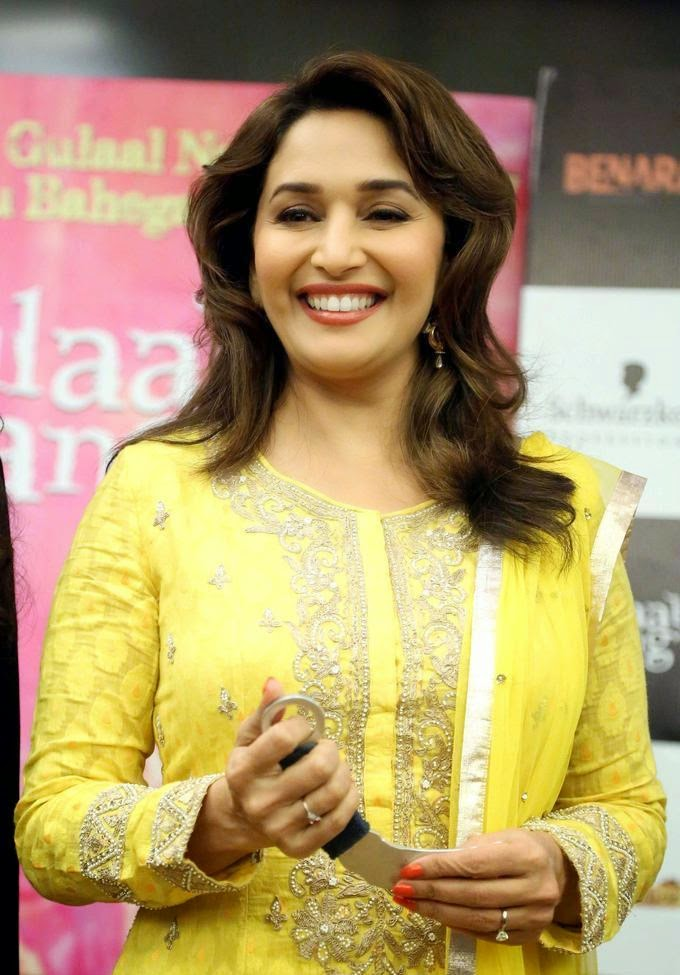 Startadka Madhuri Dixit Sizzling In Yellow Salwar-5359