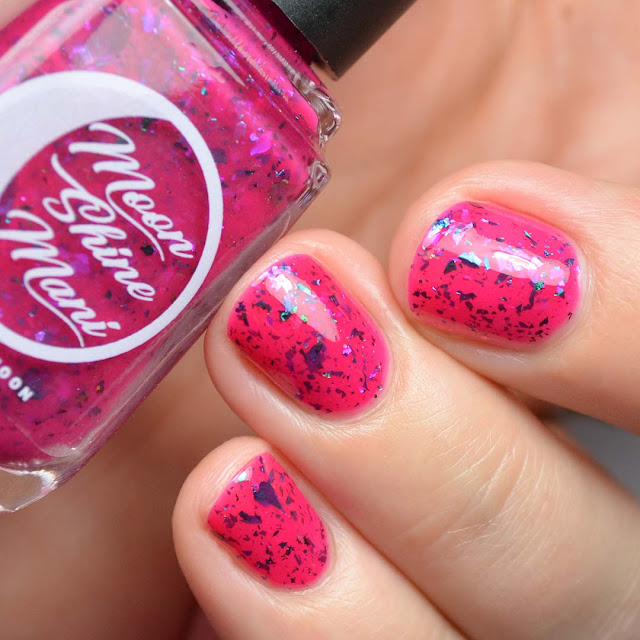 pink jelly nail polish with flakies