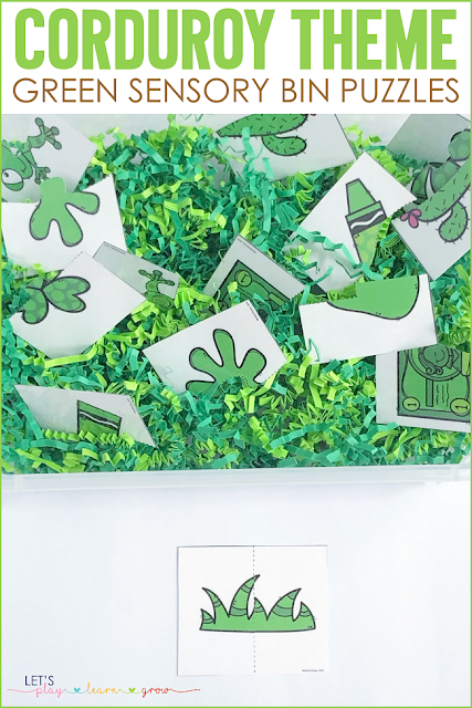 Corduroy: Color Green Sensory Bin Puzzle Activity