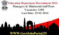 EDUCATION DEPARTMENT RECRUITMENT 2016 FOR 1100 MANAGERS & MINISTERIAL POSTS
