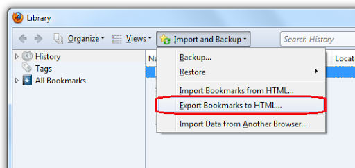 Export Firefox bookmarks