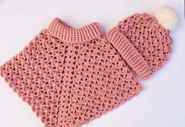1-Crochet Imagen Gorro conjunto poncho cuello de tortuga a crochet y ganchillo por Majovel Crochet
