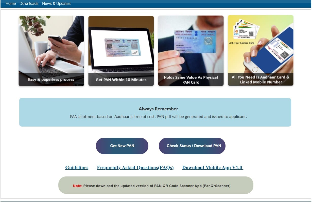 आधार कार्ड का उपयोग कर तत्काल ई पैन कार्ड - ऑनलाइन आवेदन, स्थिति जांचें और डाउनलोड करें [10 मिनट में]   Instant e PAN Card using Aadhaar Card – Apply Online, Check Status & Download [in 10 Minutes]