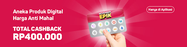 Bukalapak - Promo Produk Digital Cashback Tota s.d 400 Ribu (s.d 30 Nov 2018)