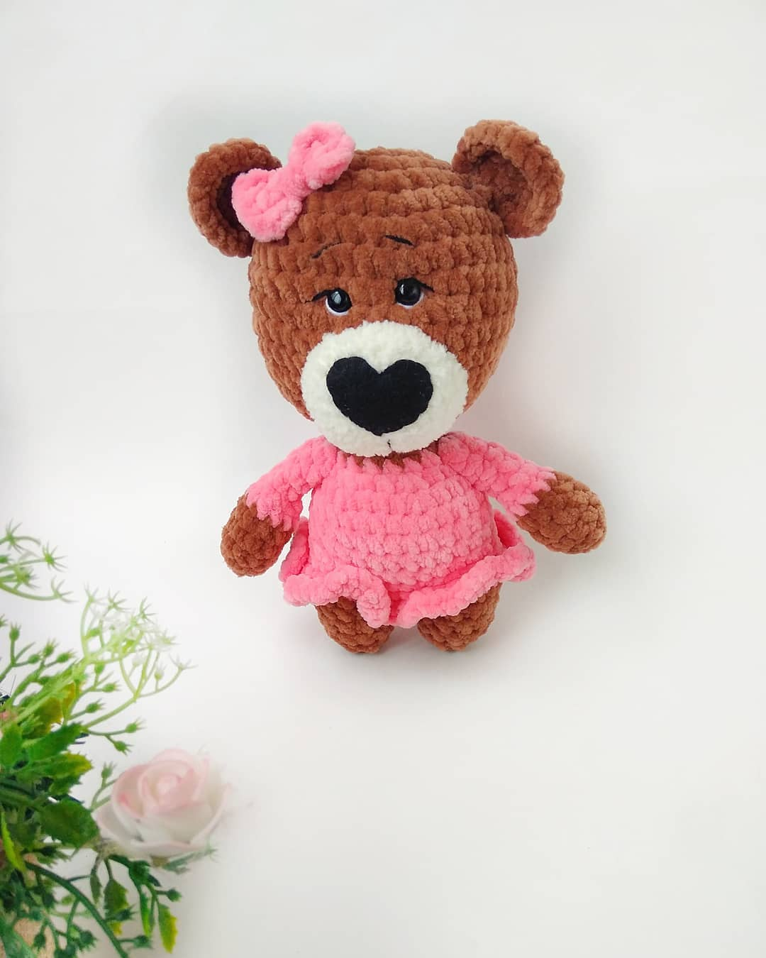 Crochet plush bear in dress