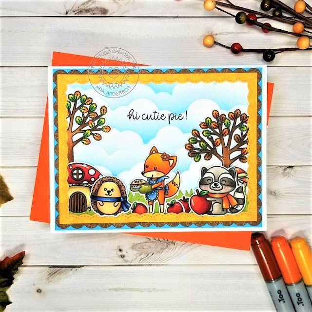 Sunny Studio Stamps: Woodsy Autumn Fluffy Clouds Border Dies Frilly Frame Dies Fancy Frames Dies Fall Themed Card by Ana Anderson