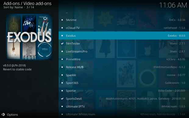 instal dan setting add-on kodi exodus 14
