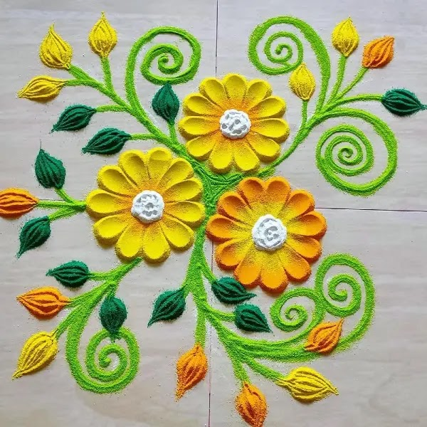 Flowers_with_leaves_rangoli_design