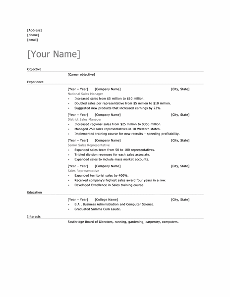 microsoft office 365 sample resume templates sales manager resume