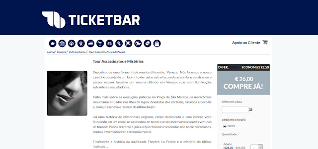 Ticketbar para ingressos para um tour misterioso em Veneza