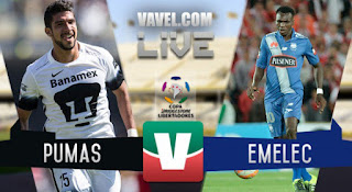 Pumas UNAM vs Emelec en Copa Libertadores
