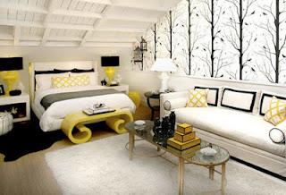 Habitación en negro y amarillo