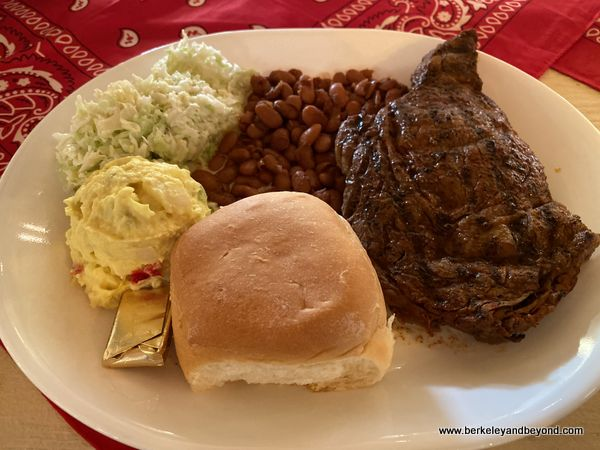 delicious steak dinner at Cattleman's Steakhouse in Fabens, Texas