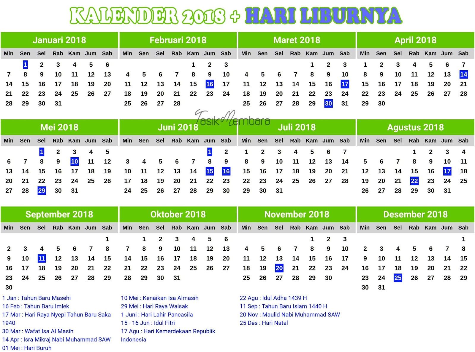 Download Kalender 2018 Lengkap Dengan Hari Libur Nasional