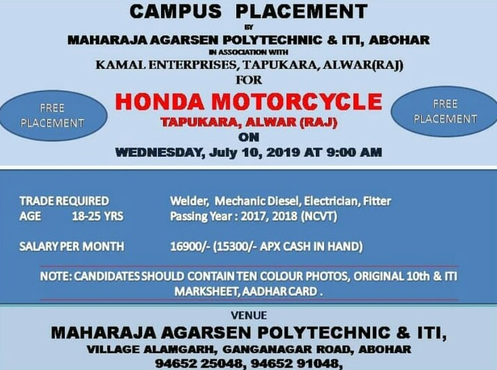 ITI Campus Placement Jobs in Panjab Company- HONDA