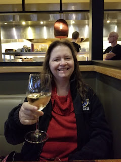 Me with wine at Samantha's, October 2018